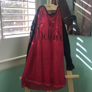 Red and black Christmas top